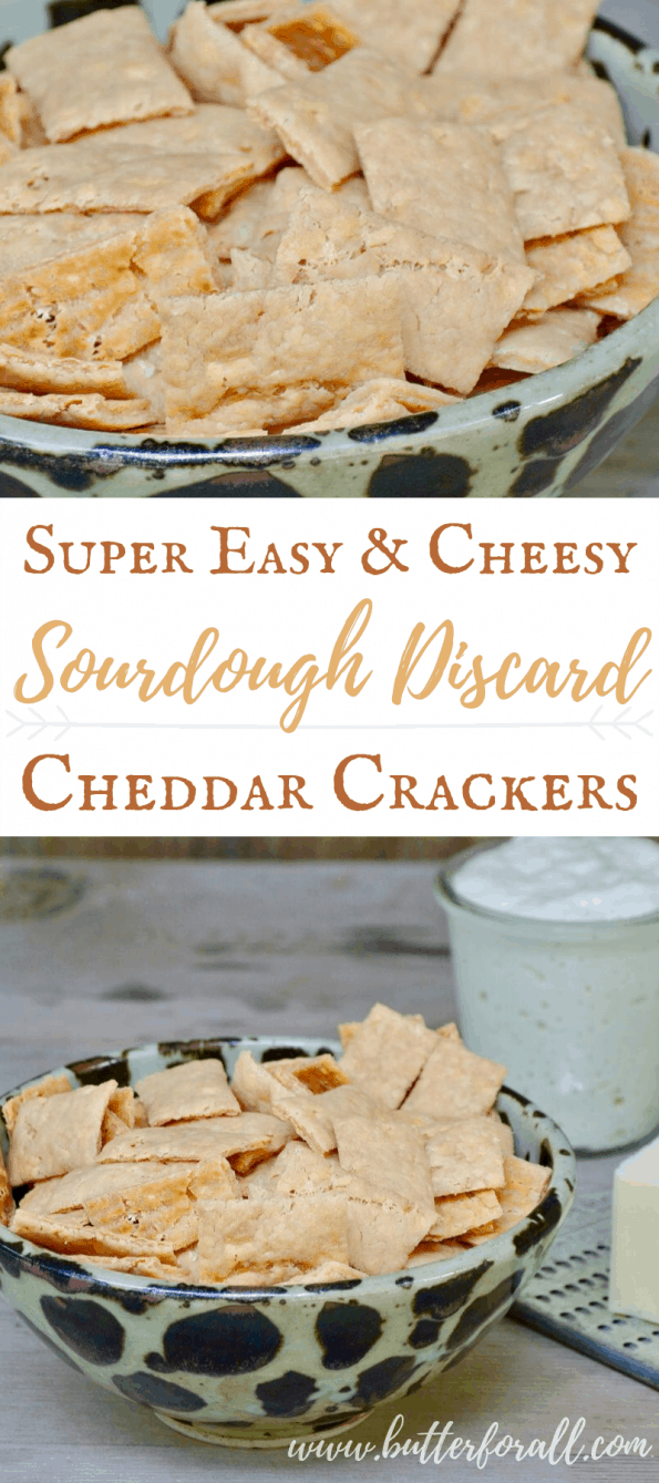 A collage of sourdough cheddar crackers with text overlay.