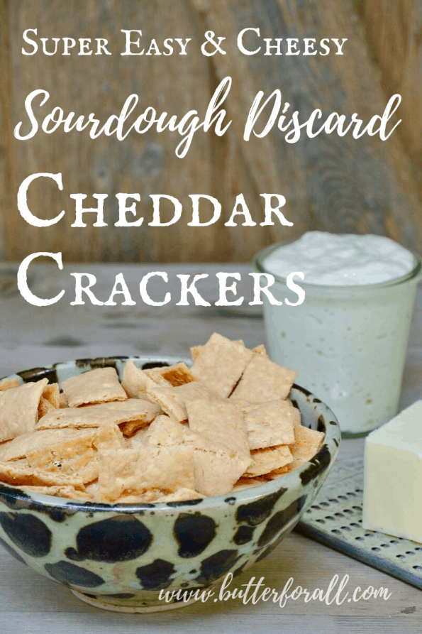 A bowl of sourdough cheddar crackers with text overlay.