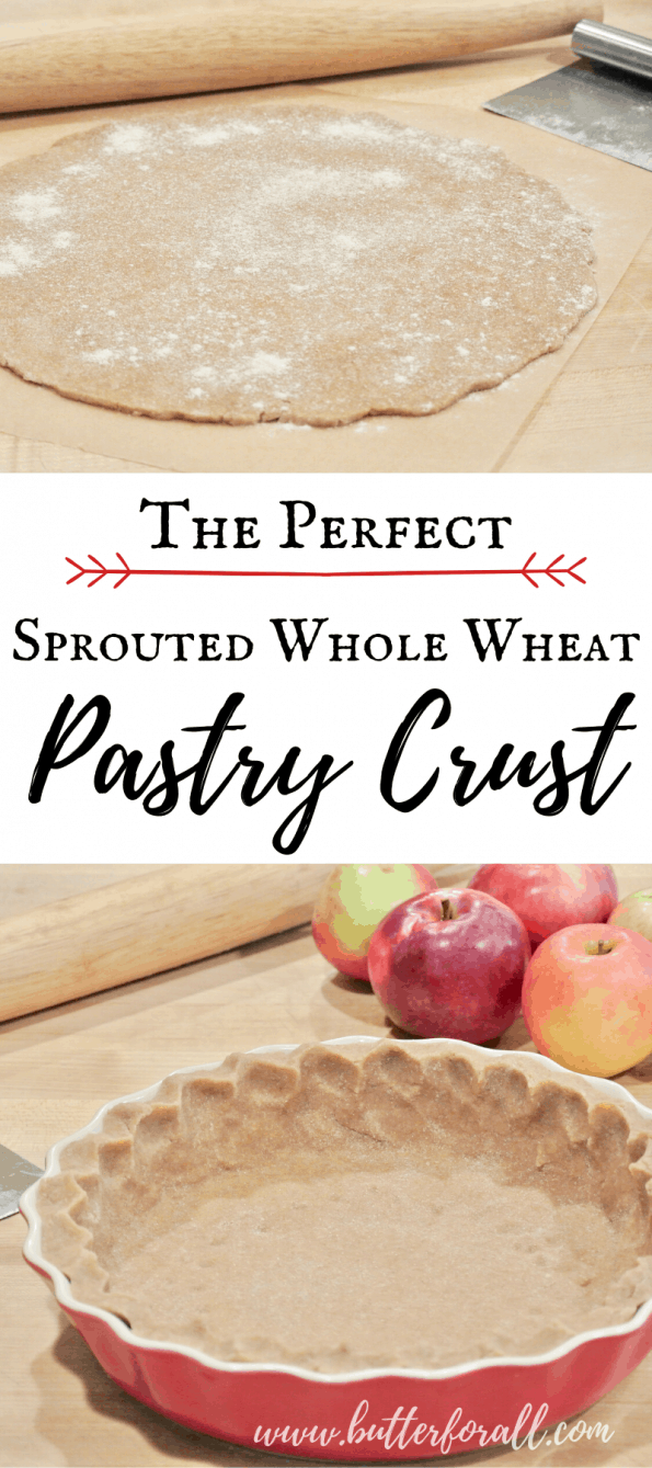 This nourishing and easy Sprouted Whole Wheat Pastry Crust is full of flavor, super flaky, and won't fall apart! #realfood #sprouted #wholewheat #pie #crust #turnovers #pastry #holiday #Thanksgiving #Christmas #fruit #coveredpie