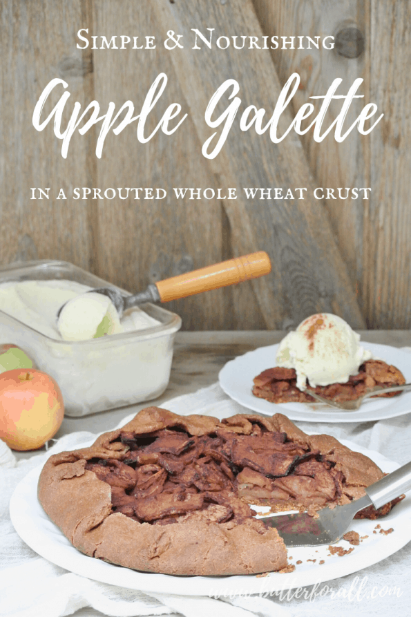 An apple galette with text overlay.