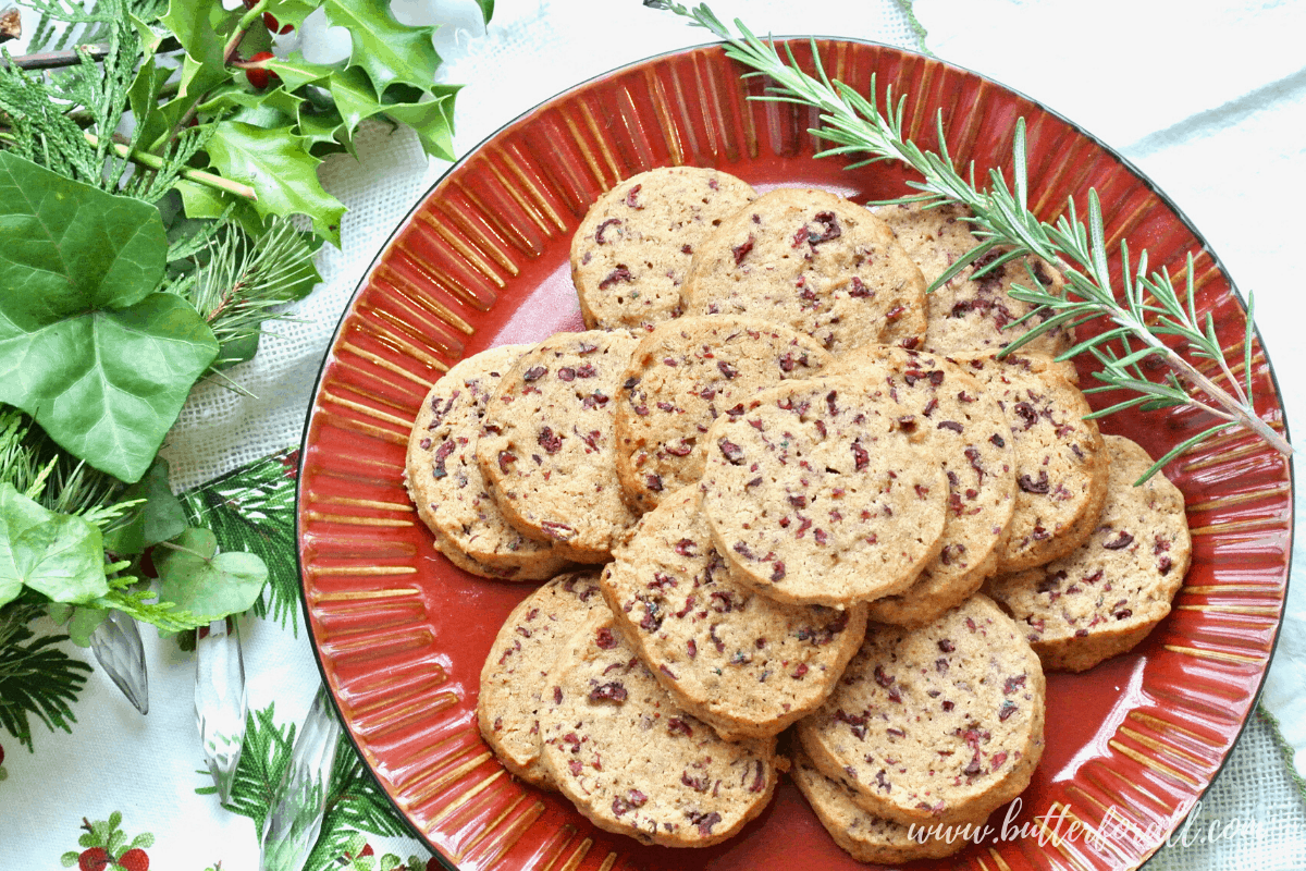Cranberry Rosemary Shortbread Cookies – Honey Sweetened Sprouted Spelt