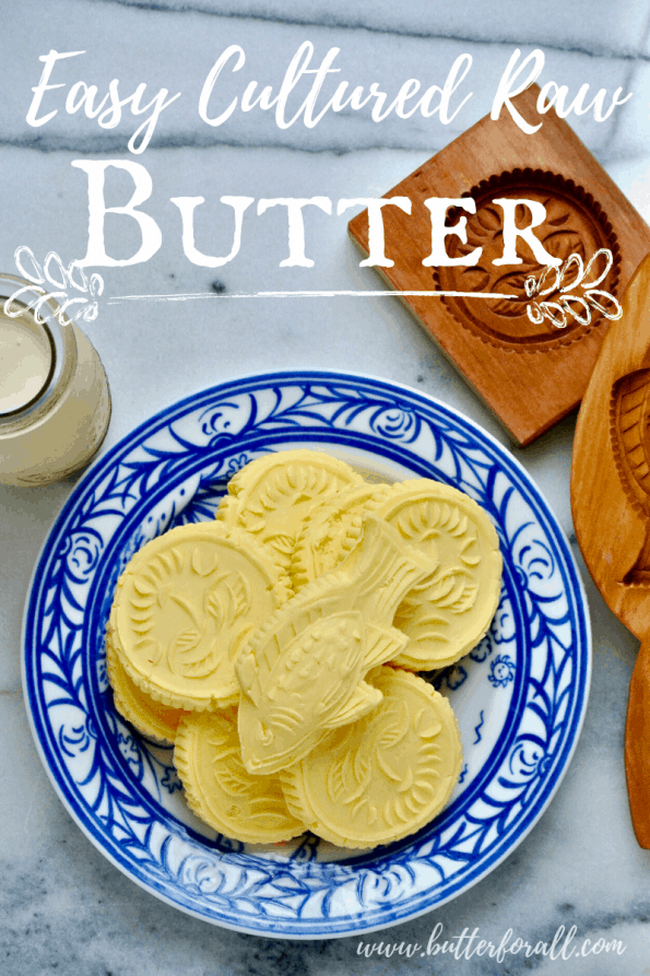 A plate of fresh butter pats with text overlay.