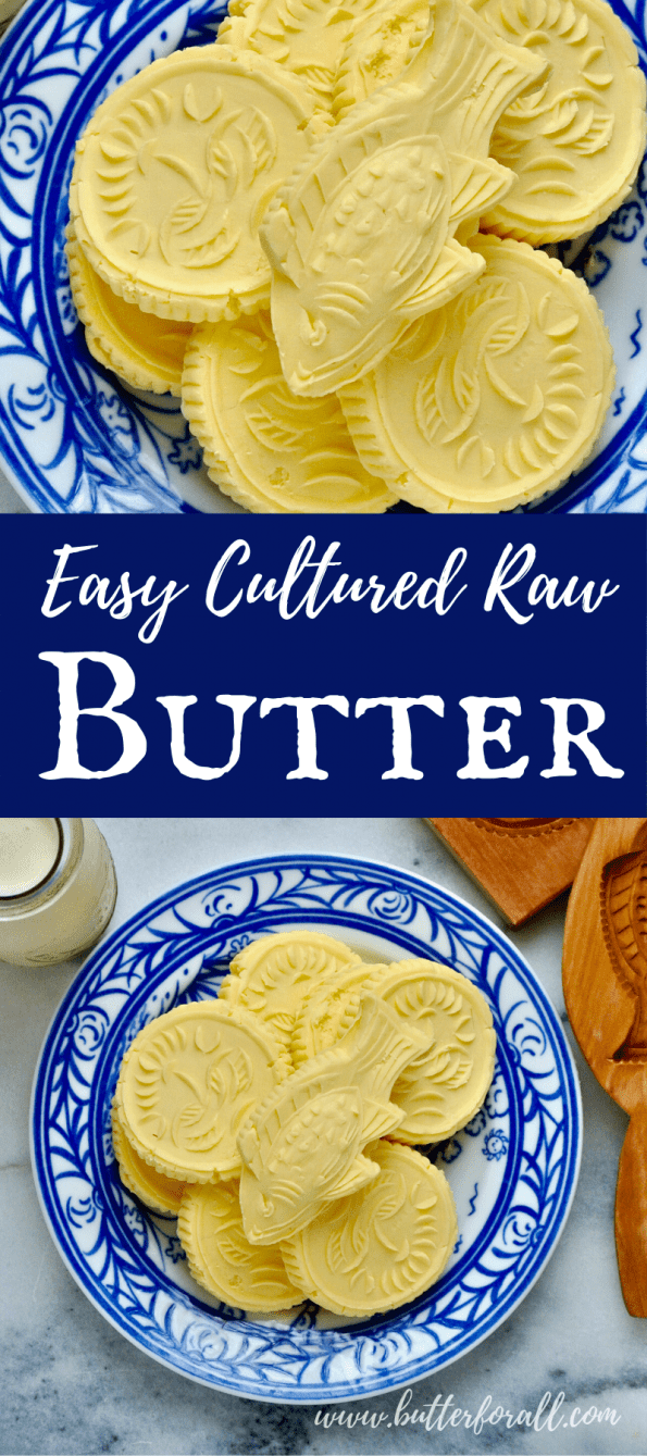 A collage of fresh butter pats with text overlay.
