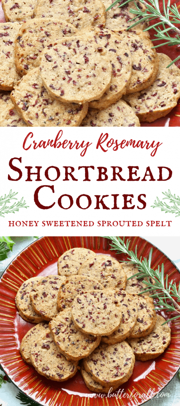 A collage of cranberry rosemary shortbread cookies with text overlay.
