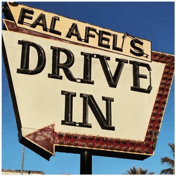 Falafel's Drive In marquee in San Jose, California.