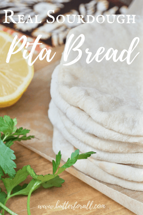 A stack of sourdough pita bread with text overlay.