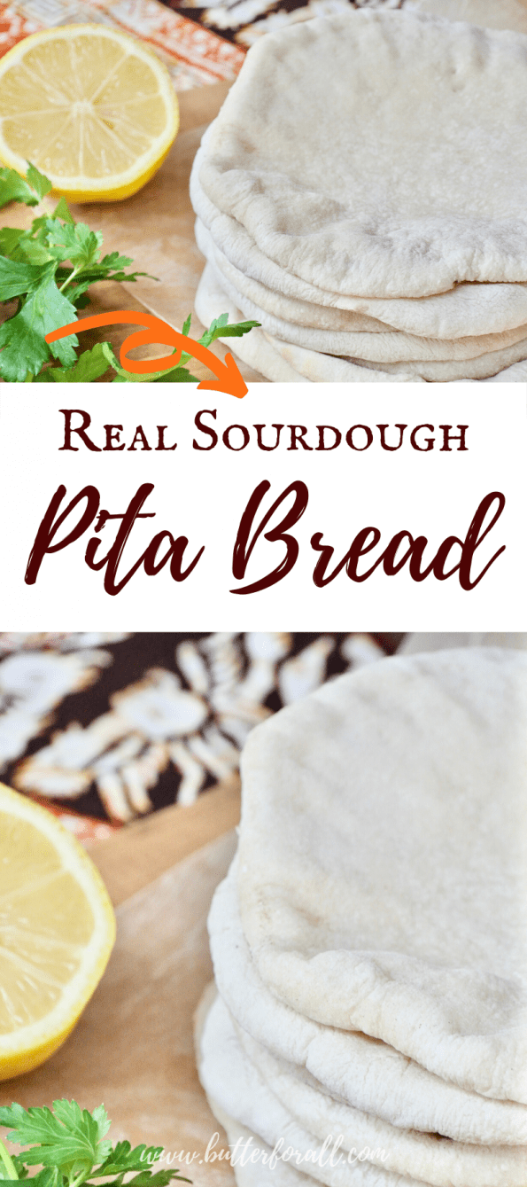 A collage of pita bread with text overlay.