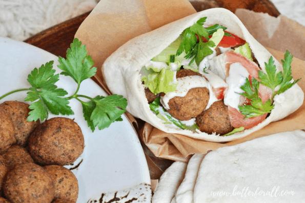 Falafel sandwich in a sourdough pita with tahini dressing.
