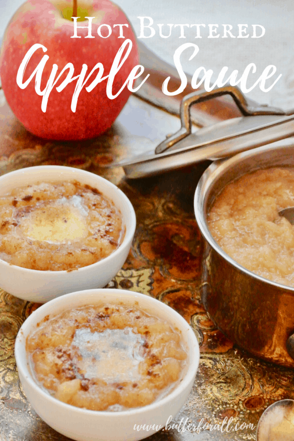 Bowls of hot buttered apple sauce with text overlay.