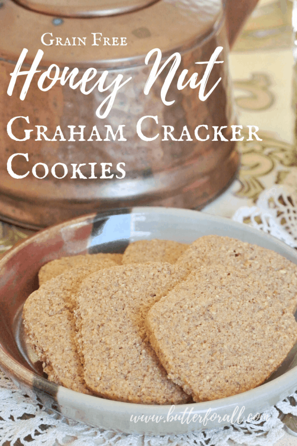 A plate of graham cracker grain-free cookies with text overlay.