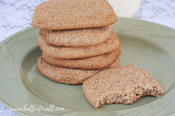 A stack of soft and chewy grain-free cookies.