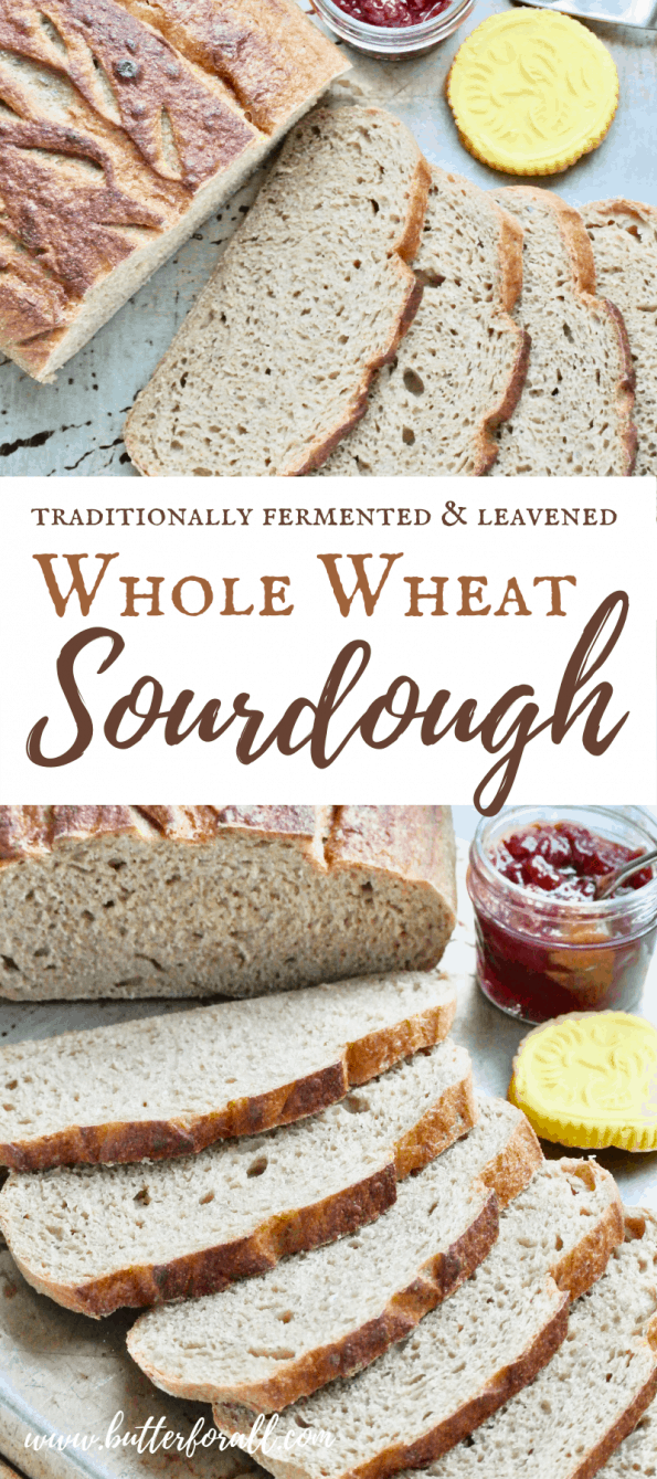 A collage of loaves of sliced sourdough bread with text overlay.