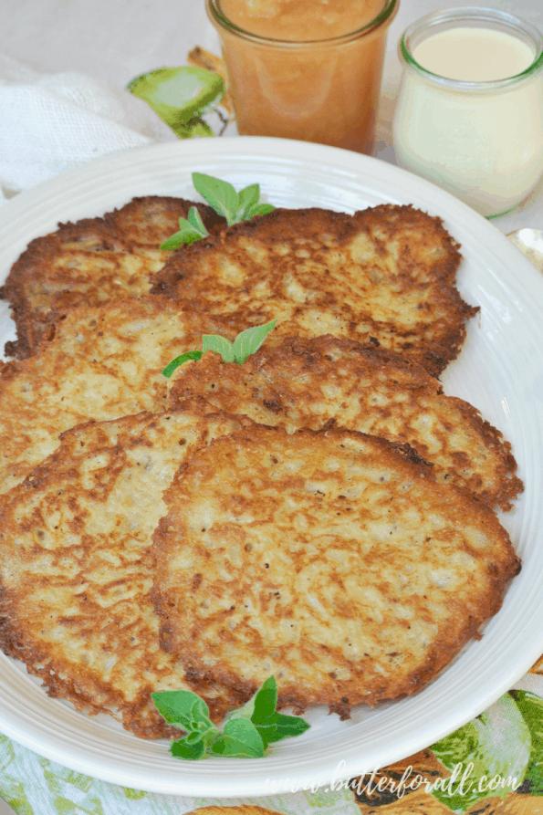 A plate of sourdough potato pancakes.