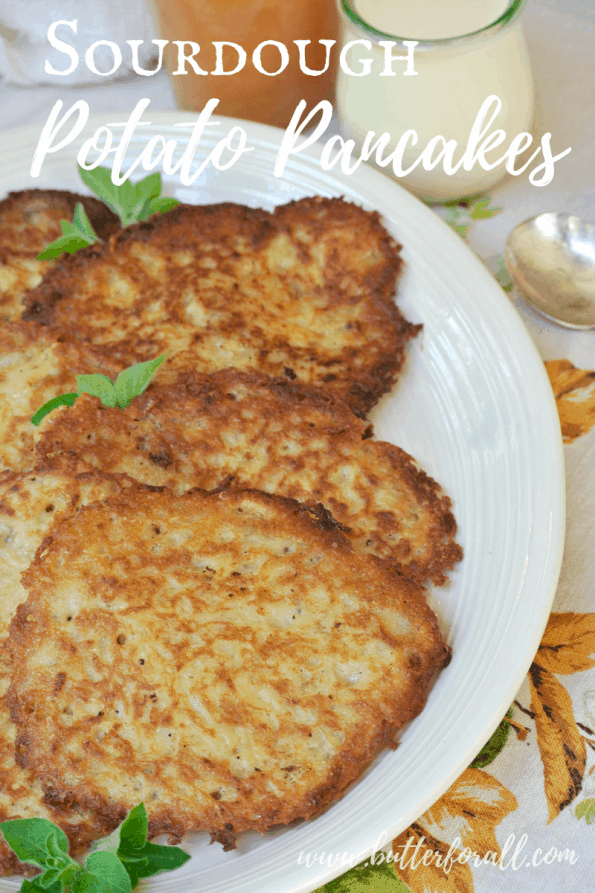 A plate of sourdough potato pancakes with text overlay.