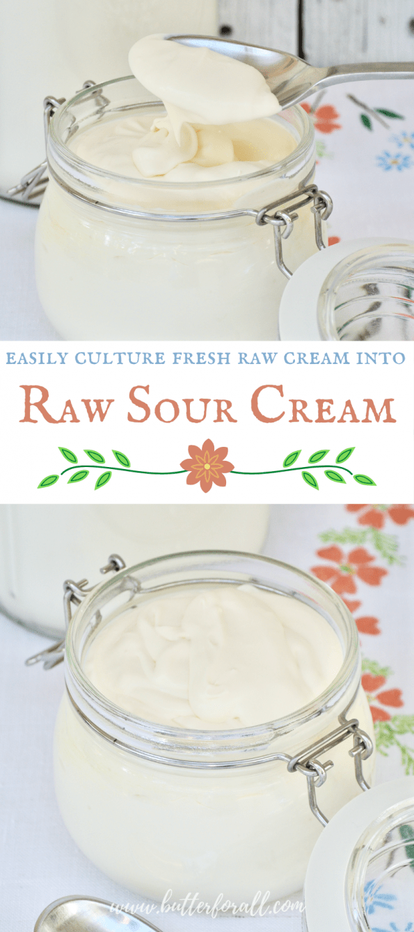 A collage of jars of raw sour cream with text overlay.
