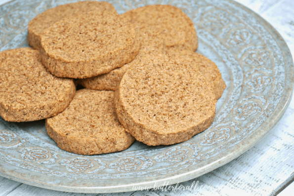 A plate of browned butter pecan cookies.