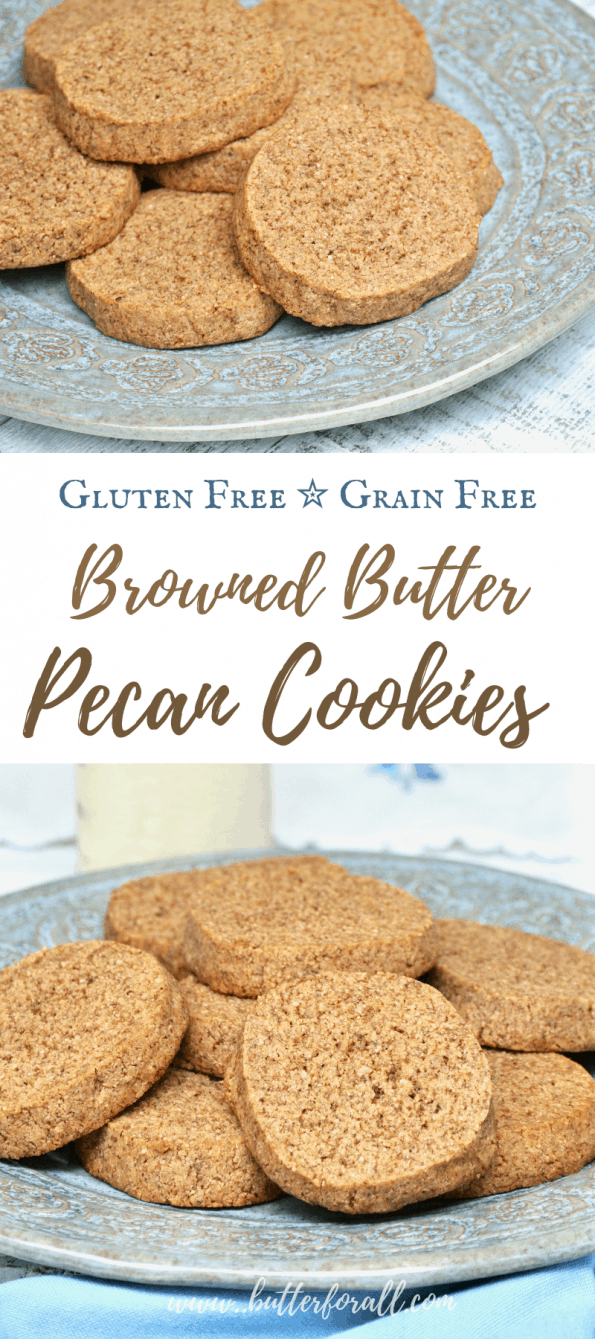 A collage of browned butter pecan cookies with text overlay.