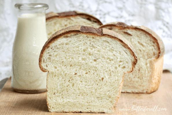 Slices of sourdough milk bread.