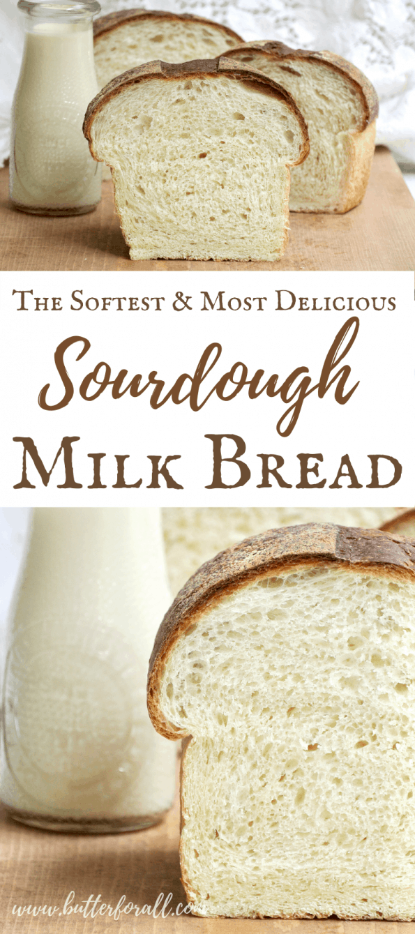 A collage showing loaves of sourdough milk bread with text overlay.