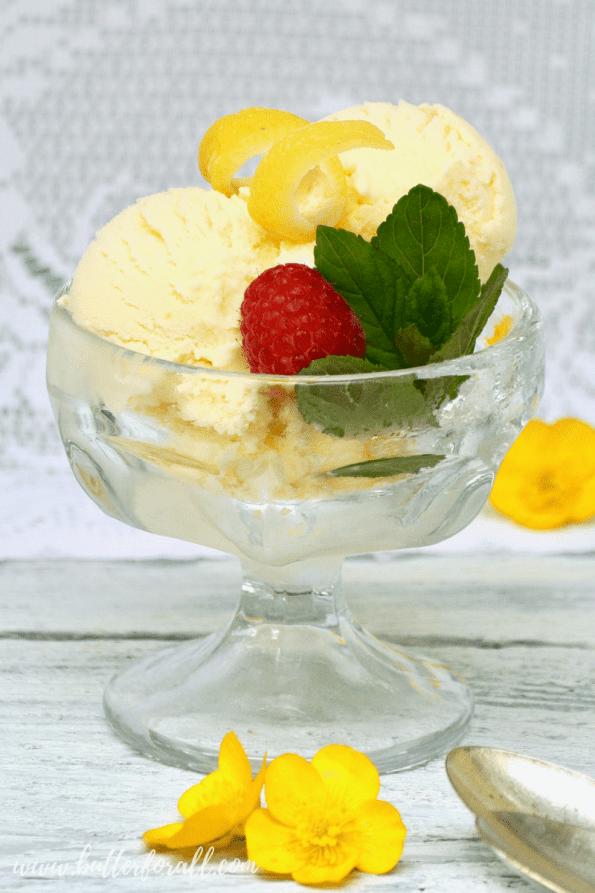 A bowl of cultured raw lemon ice cream.