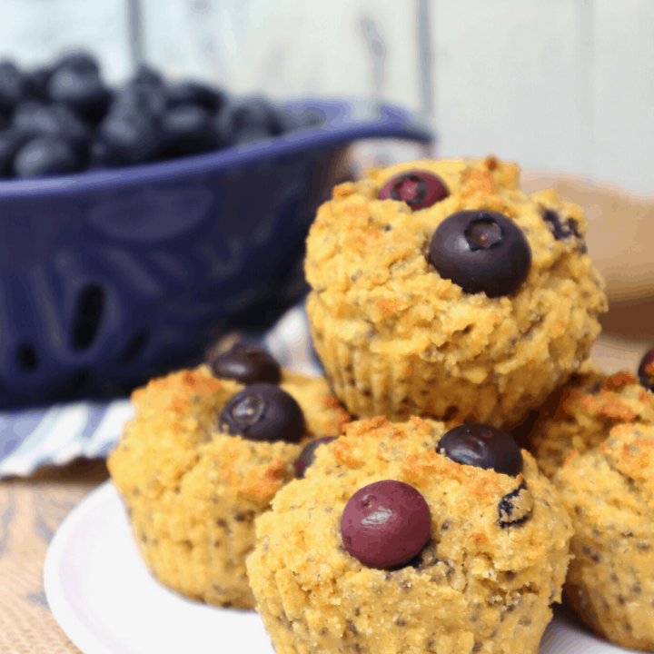 Blueberry Cornbread Muffins - Gluten Free and Egg Free