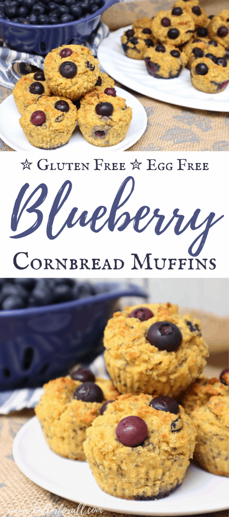 Long Pinterest image showing stacks of blueberry cornbread muffins with text.