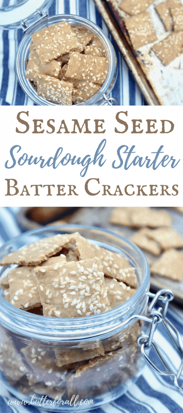 Pinterest Image showing a jar full of sesame seed sourdough starter crackers.