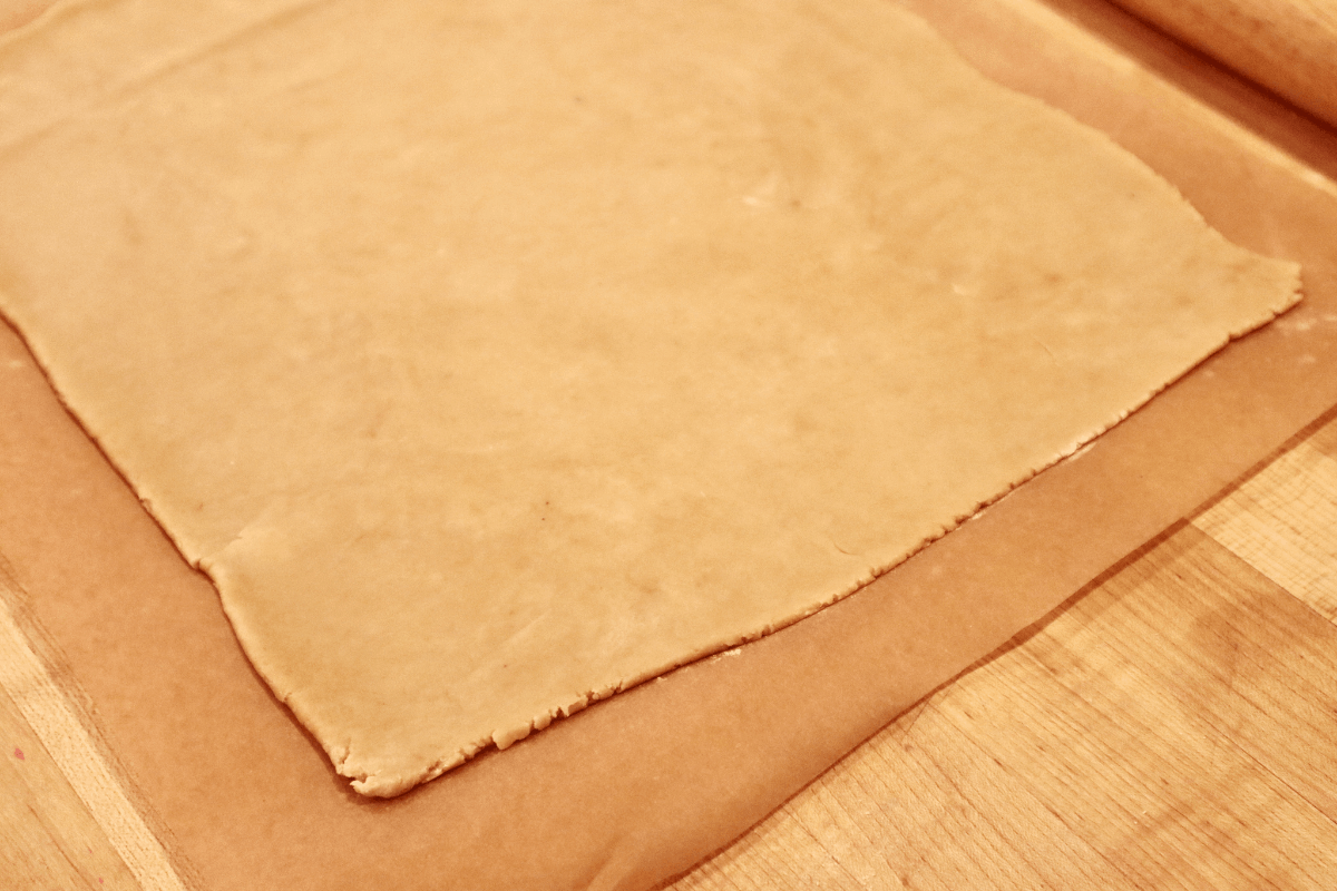 A perfect rectangle of dough 1/4 inch thick.