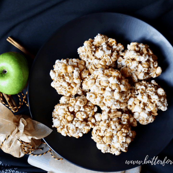 Cinnamon, Apple, and Honey-Butter Caramel Popcorn Balls