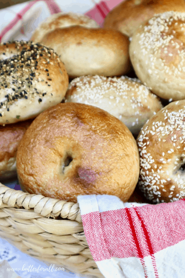 Basket of soft and chewy Sourdough Bagels.