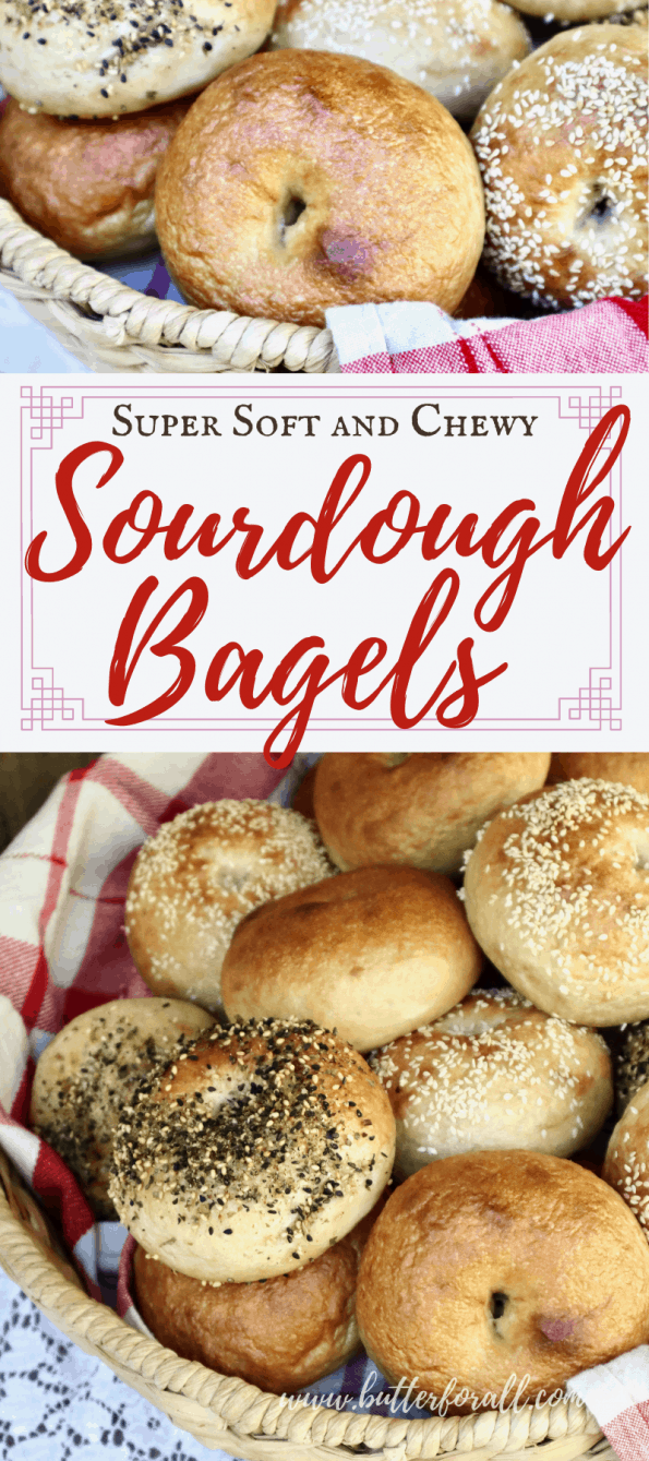 Long Pinterest image showing baskets of Sourdough Bagels with text.