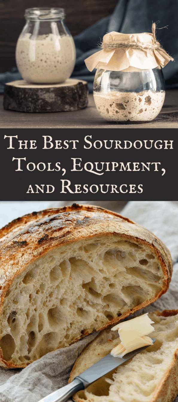 Long Pinterest image showing jars of sourdough starter and a loaf of sourdough bread with text.