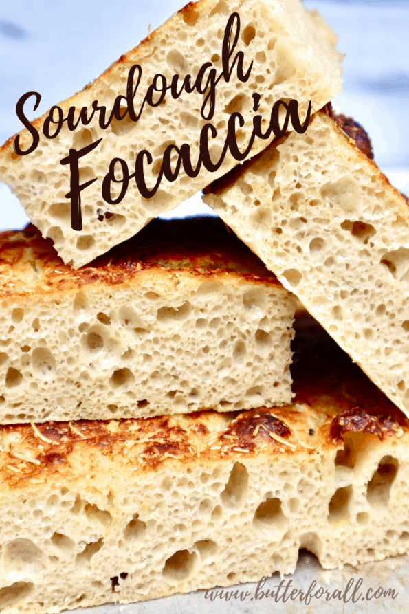 Pinterest Image with title showing stacked cut focaccia.