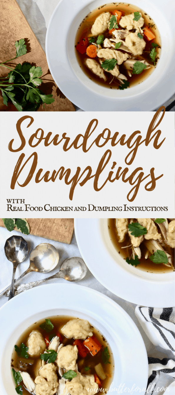 Long Pinterest image, showing bowls of Chicken and Dumpling Soup.
