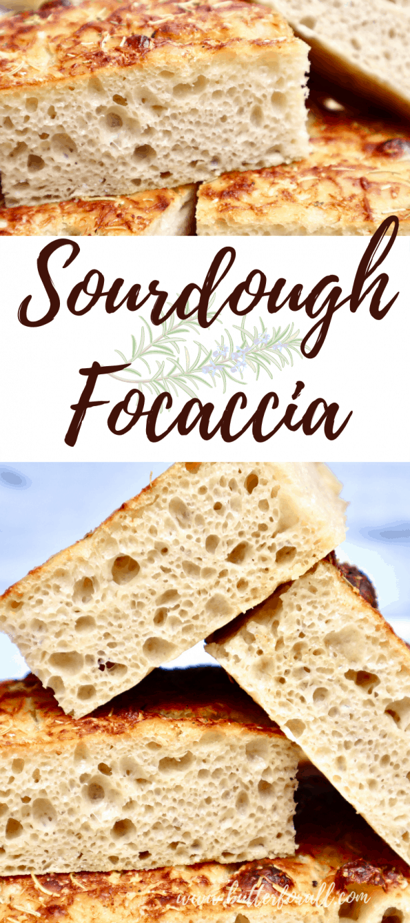Long Pinterest image showing stacks of sliced sourdough focaccia.