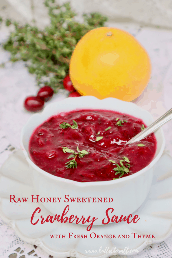 Pinterest image showing one bowl of fresh, bright red cranberry sauce with a text overlay.