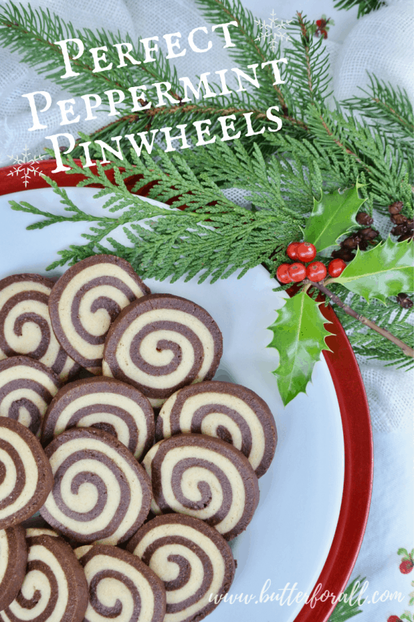 Pinterest image showing a plate of Perfect Peppermint Pinwheel Cookies with title.