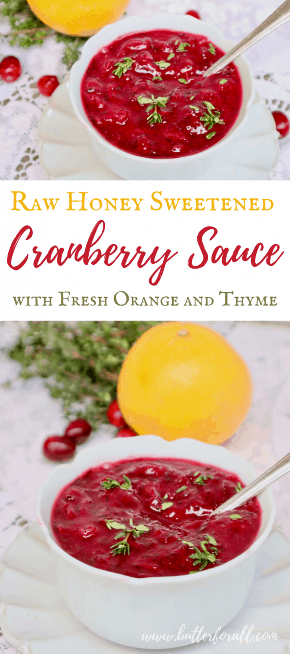 Pinterest image showing two photos of fresh, bright red cranberry sauce with a text overlay.