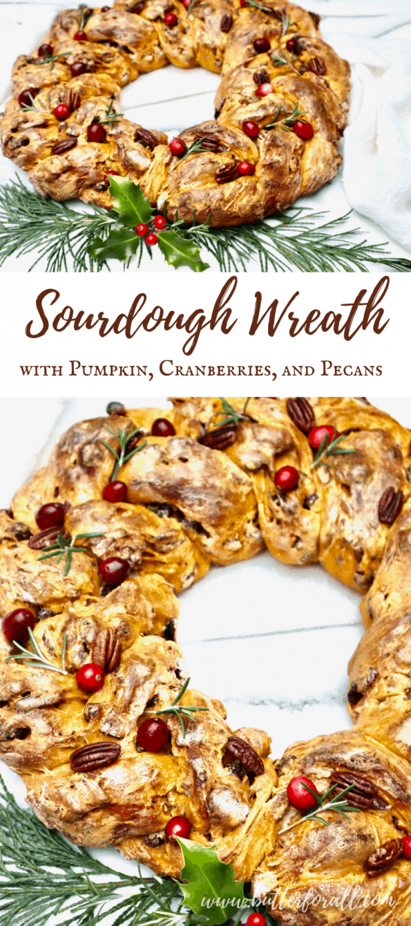 Long Pinterest graphic with text, showing two photos of a festive sourdough wreath with cranberry, pecan, and rosemary garnish.