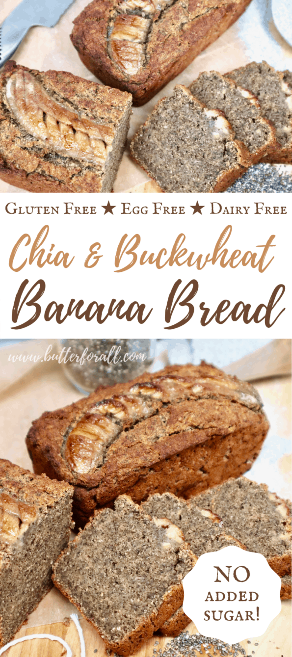 Golden brown buckwheat banana bread with title text overlay.
