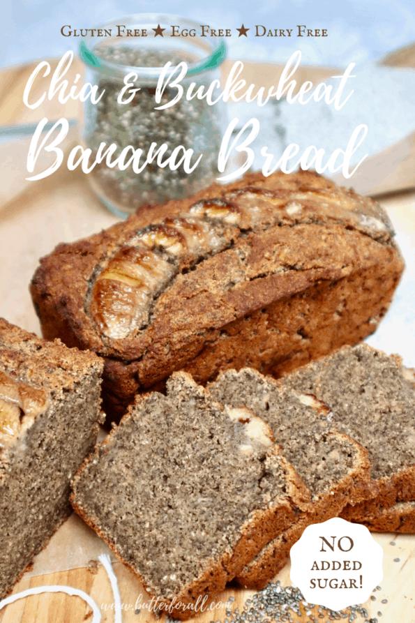 Sliced buckwheat banana bread with title text overlay.