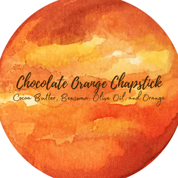 Watercolor label for a chocolate orange chapstick made with cocoa butter, beeswax, olive oil, and orange essential oil.