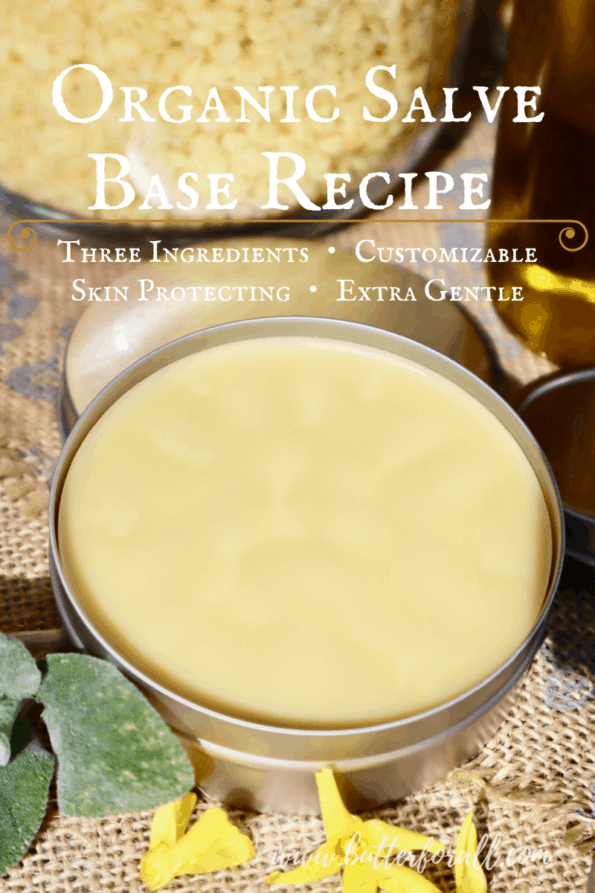 Tin of golden beeswax, cocoa butter, and olive oil salve with descriptive text overlay.