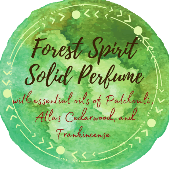 Watercolor label for a solid perfume made with patchouli, atlas cedarwood, and frankincense.