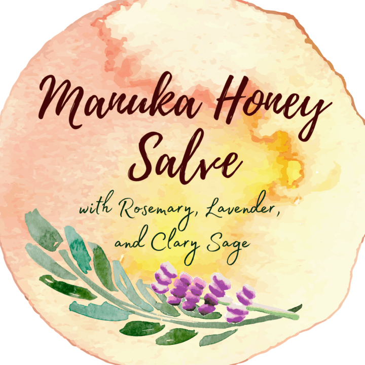Watercolor label for Manuka honey salve with rosemary, lavender, and clary sage.