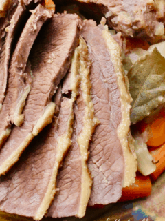 A close-up of tender corned beef slices.