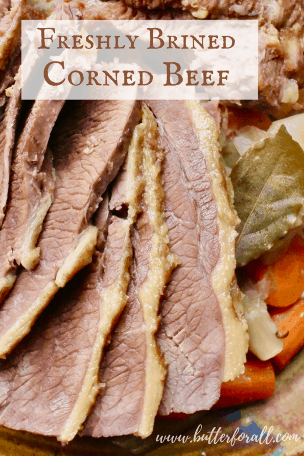 Fresh sliced corned beef with text overlay.