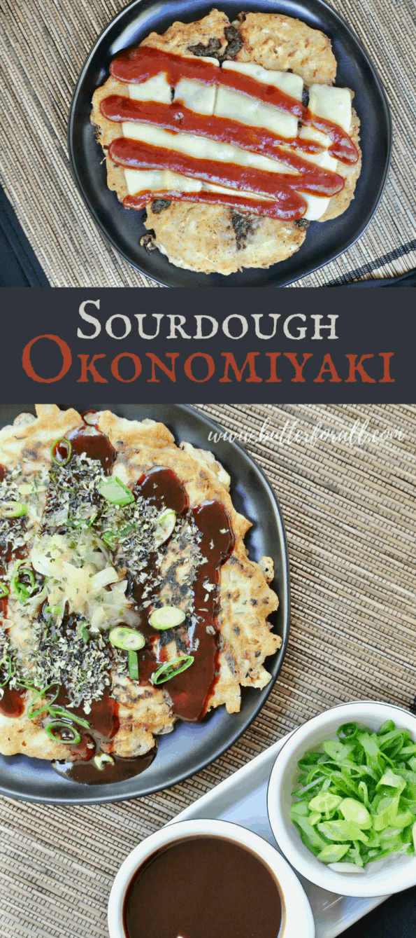 Photo collage of sourdough okonomiyaki with toppings and title text overlay.