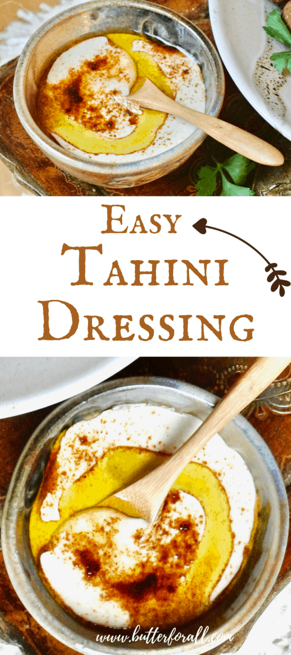 Tahini dressing photo collage with text.