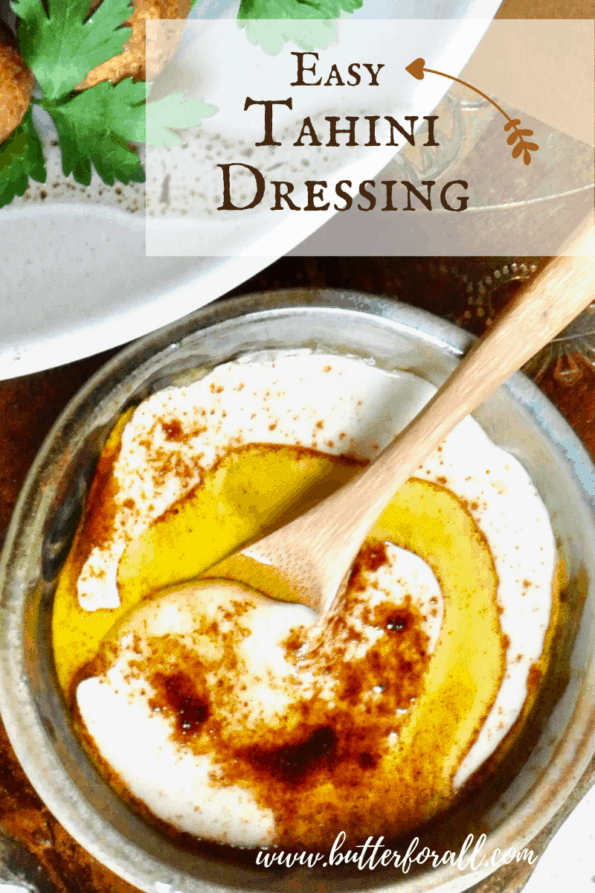 Tahini dressing in a bowl with text.